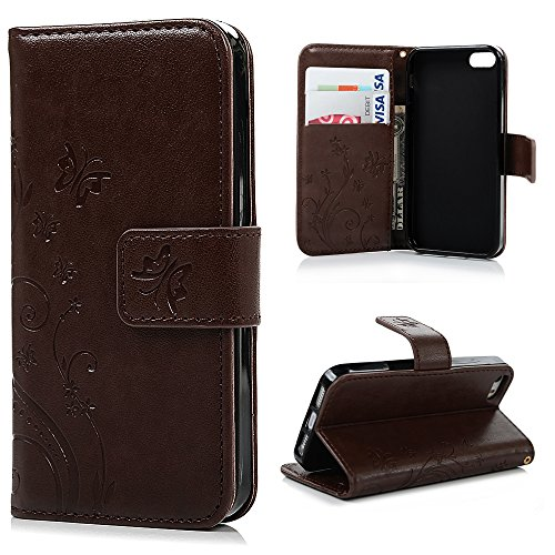 Compatible for iPhone SE 5S 5 Case, Natural Luxury Brown Stand Wallet Purse Credit Card ID Holders Magnetic Design Flip Folio TPU Soft Bumper PU Leather Ultra Slim Fit Cover for iPhone SE 5S 5