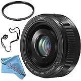 Panasonic Lumix G 20mm f/1.7 II ASPH. Lens (Black) + 46mm UV Filter + Fibercloth + Lens Capkeeper Bundle