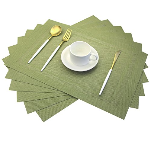 Placemats,Heat Insulation Non Slip Plastic Placemats,Washable Easy to Clean Woven Vinyl Kitchen Stain Resistant Placemats for Dining Table Set of 6(Olive Green)