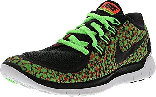 Nike Womens Free 5.0 Utskrifts Løpesko Spenning Grønn / Hyper Oransje / Hvit / Sort Størrelse 6,5 M Oss