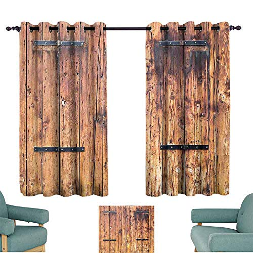Mannwarehouse Rustic Thermal Curtains Antique Timber Planks in Weathered Tones with Locks Vintage Style Country House Picture Privacy Protection 55