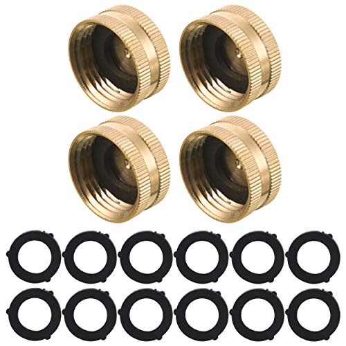 M MINGLE Garden Hose Female End Cap, Brass Spigot Cap, 3/4'', 4-Pack with Extra 12 Washers