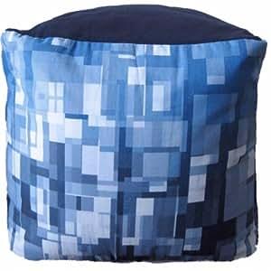 Blue Bean Bag Cube Ottoman