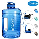 Ruckae Water Bottle, 1 Gallon Water Bottle with Straw and One Replaceable Lids, 128OZ Motivational Water Bottle with Time Marker to Drink Enough Water Daily for Fitness, Outdoor