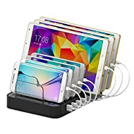 Ming Hawk Universelle Station de Charge S760 7-Port USB 60W 12A 100-240V Multifonction Support Chargeur de Bureau Organisateur des Câbles pour iPhone iPad Smartphones Tablettes