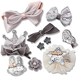 10pcs Headwear Set Children Accessories Ribbon Bow Hair clip Hairpins Rabbit Ears for Girls Princess Crown Headdress, Grey