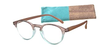 61a35f90629 Amazon.com  Women s Round Reading Glasses Aqua Brown with Wood ...