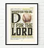 Baseball - Whatever You Do, Do It For the Lord -Colossians 3:23- Vintage Bible verse wall Christian ART PRINT, UNFRAMED, boys room poster, Christmas gift, 8x10 inches