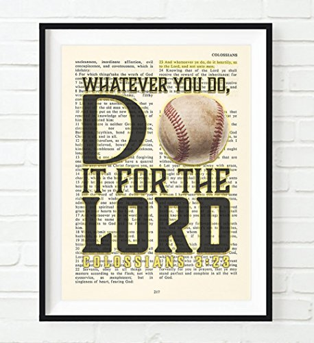 Baseball - Whatever You Do, Do It For the Lord -Colossians 3:23- Vintage Bible verse wall Christian ART PRINT, UNFRAMED, boys room poster, Christmas gift, 8x10 inches for $<!--$13.99-->