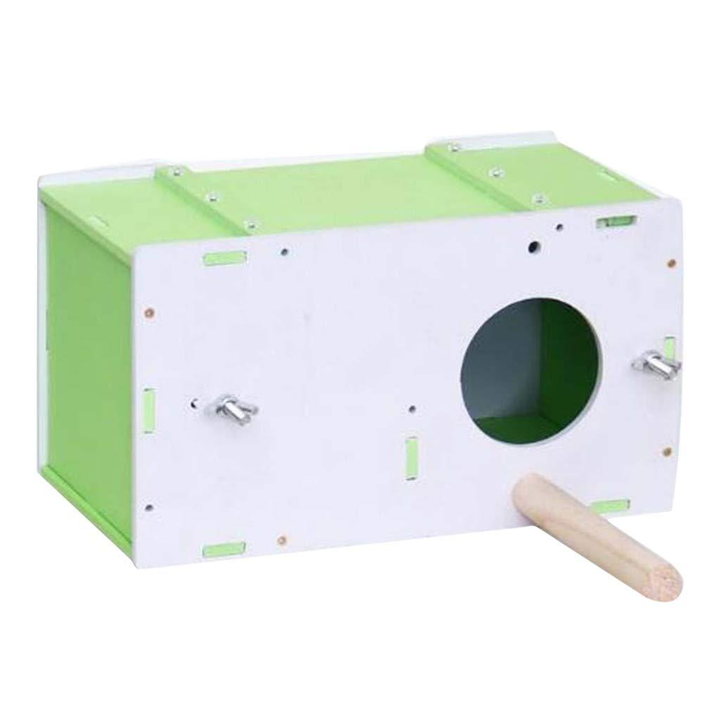 Green Sevenfly Parakeet Nest Box Budgie Nesting House Breeding Box for Lovebirds Parrotlets Mating Box