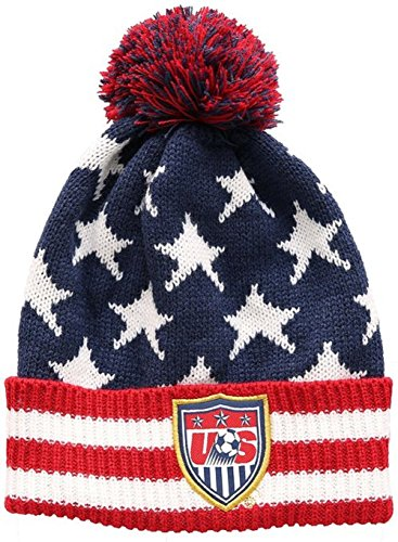 U S  Soccer Football Official Merchandise Mens Usa Ski Hat Peruvian Pompom Beanie One Size White Red Blue