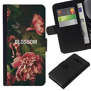 Stuss Case / Funda Carcasa PU de Cuero - Begonia Vignette Verde Naturaleza - Samsung Galaxy Core Prime