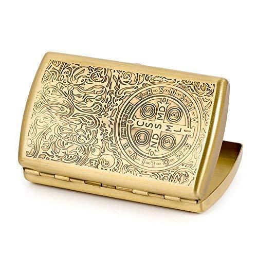 (Carved Constantine Pure Copper Metal Cigarette Case Holder Holds 12 Cigarettes)