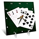 3dRose Alexis Photo-Art - Poker Hands - Poker hands. Three of a kind. Ace, King, Ten - 6x6 Desk Clock (dc_270479_1)