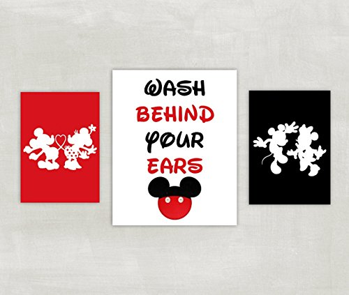 Mickey Mouse Prints - Minnie and Mickey Mouse Bathroom Prints - Silhouette - Wash Behind Your Ears Set of 3 Prints ((unframed))