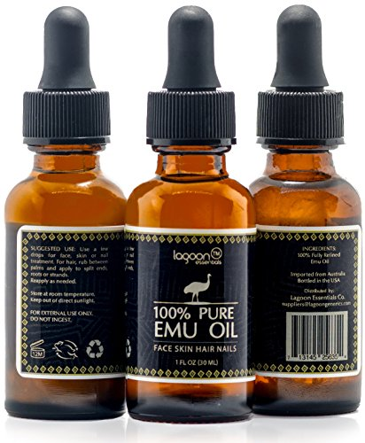 1# Emu Oil Pure 100% From Australia For Hair, Skin, Face, Nails, Wrinkles, Sunburns, Irritations, Scars, Acne, Stretch Marks, Burn Wounds and More. Bottle With Dropper. (1 FL OZ)