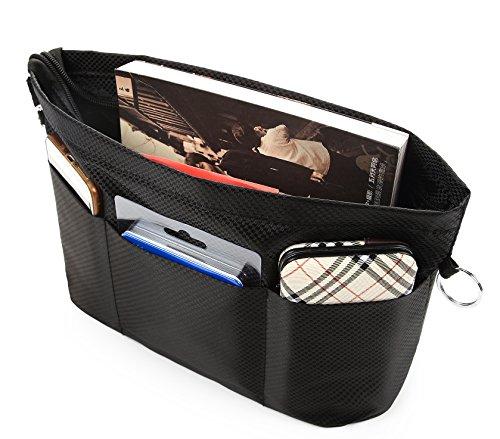 Multi-pocket Purse Tote Bag in Bag Divider Handbag Organizer Insert with Zipper by (Pocket Handbag Organizer)