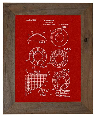 Contact Lens Patent Art Burgundy Red Print in a Barnwood Frame (5