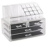 Estilo 100% Pure Acrylic Cosmetic and Jewelry Organizer, Two Pieces Set Storage Display Boxes