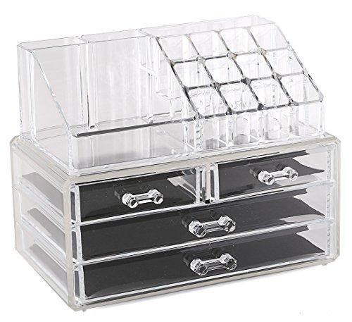 Estilo 100% Pure Acrylic Cosmetic and Jewelry Organizer, Two Pieces Set Storage Display Boxes by Estilo