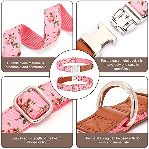 Dog Collar for Small Medium Large Breeds Cut Flora Polka Dot Pet Collar with Alloy Fast Release Buckle D Ring