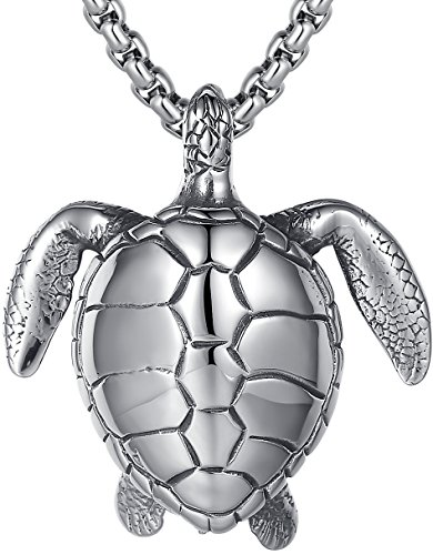 Large Turtle Pendant - LineAve Men's Stainless Steel Extra Large Sea Turtle Pendant Necklace, 23 + 2