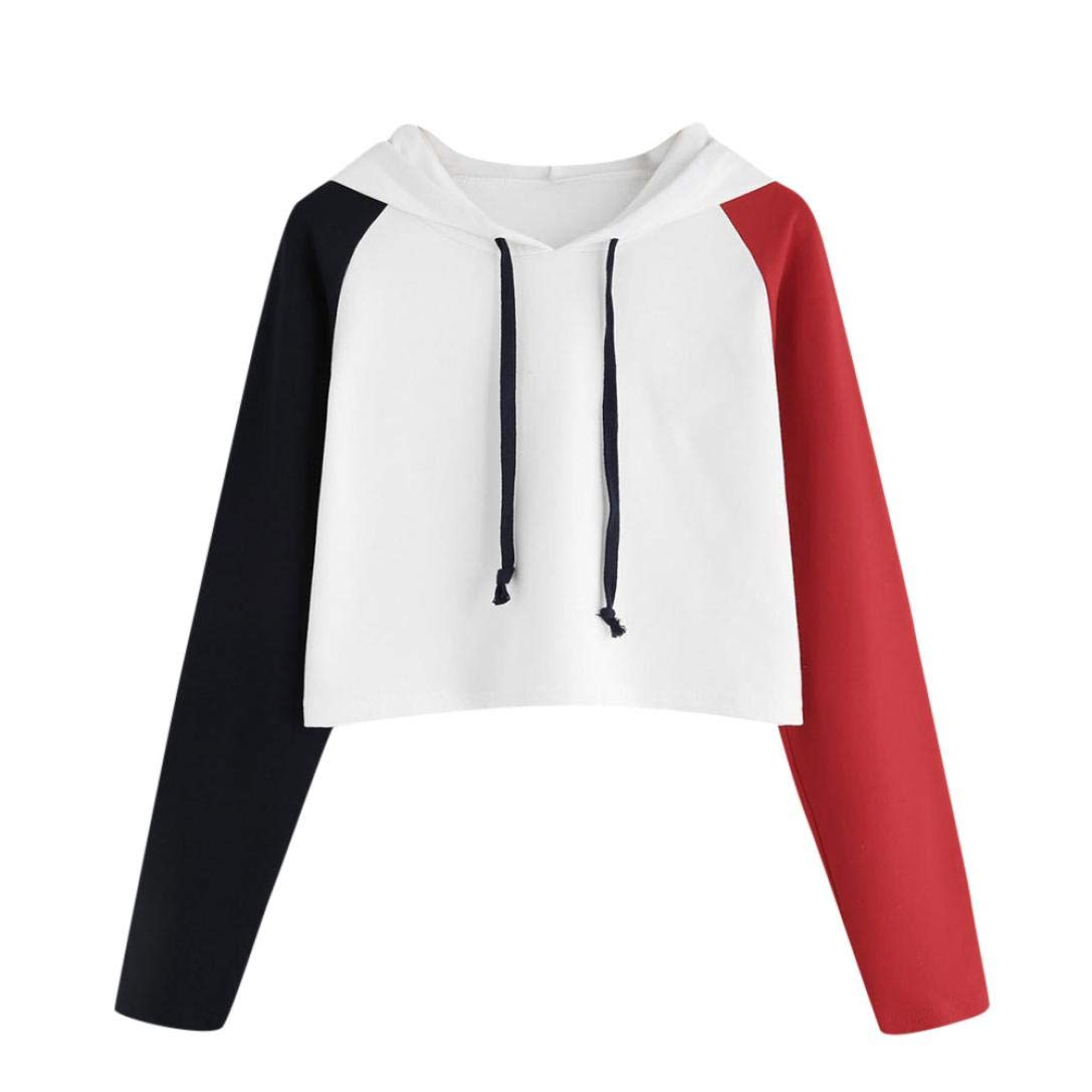 Ladies Womens Girls Splice Crop Hoodie Sweatshirt Plain Jumper Sweat Pullover Tops