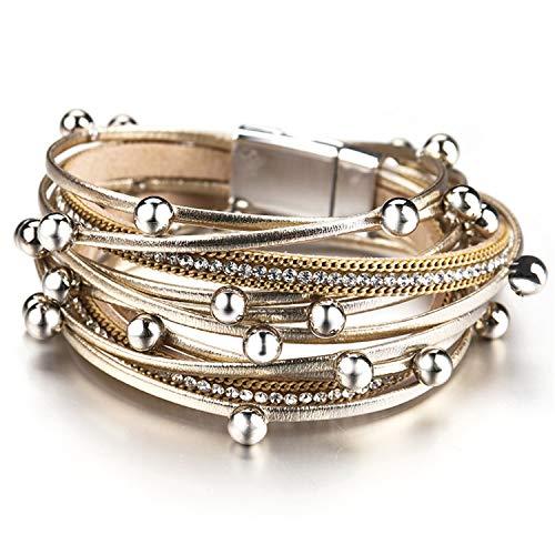 racelets for Women Trendy Design Beads Charm Double Wrap Bracelets Bangles Jewelry(Adjustable,Gold) ()