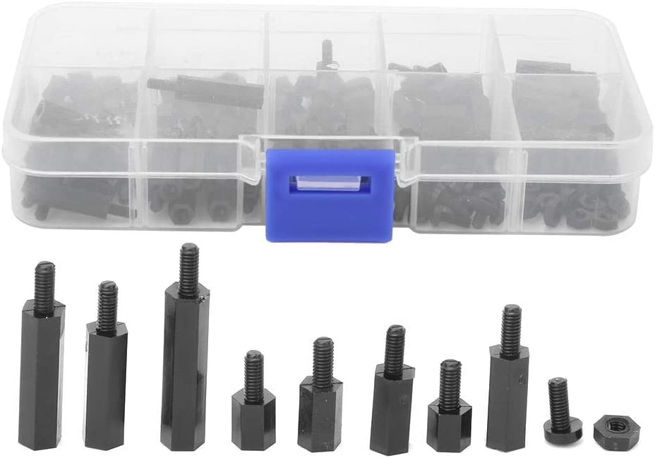 Female-Male Standoff Assorted Kit for Industrial DIY Plyisty 140 Pcs Black//White Circuit Spacer M2.5 Black Nylon Screws 140pcs//box