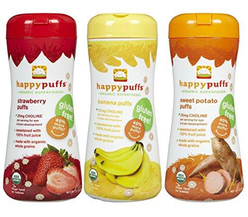 Happy Baby Organic Puffs 2.1 Oz Mixed 3 Pack (1 Strawberry, 1 Bananna, 1 Sweet Potato)