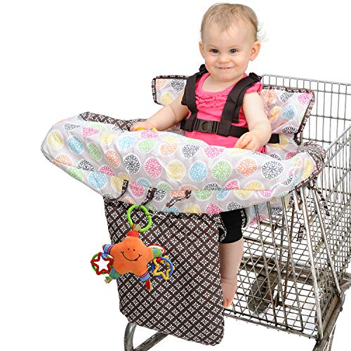 Nuby Baby Shopping Cart Cover and High Chair Cover 2 in 1, Flower Medallion, High Chair Cushion, Baby Grocery Cart Cover, Infant High Chair Cover, Safety Harness, Cart Cover, Toddler, Universal Size