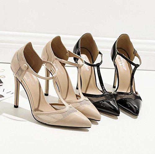 Wedding Sandals strap Pointed T Women Toe 11cm Eu D'orsay Shoes Stiletto 35 Pump Straps Size Apricot Court Shoes Charming Dress Shoes Hollow 40 Ankle wZpqz4c