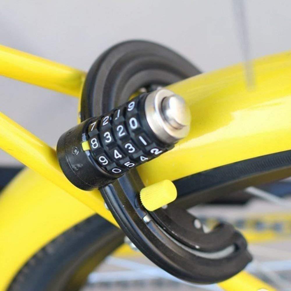 Bicicleta Cerradura de cable de acero de 4 d/ígitos Bicicleta//motocicleta Contrase/ña digital Cerradura de seguridad antirrobo Contrase/ña fija