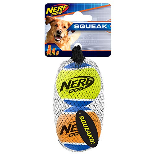 Nerf Dog 3in Squeak Tennis Ball 2-Pack: Blue/Green and Blue/Orange, Dog Toy