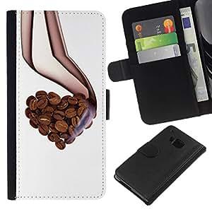 All Phone Most Case / Oferta Especial Cáscara Funda de cuero Monedero Cubierta de proteccion Caso / Wallet Case for HTC One M7 // Love Coffee Beans Aroma Heart