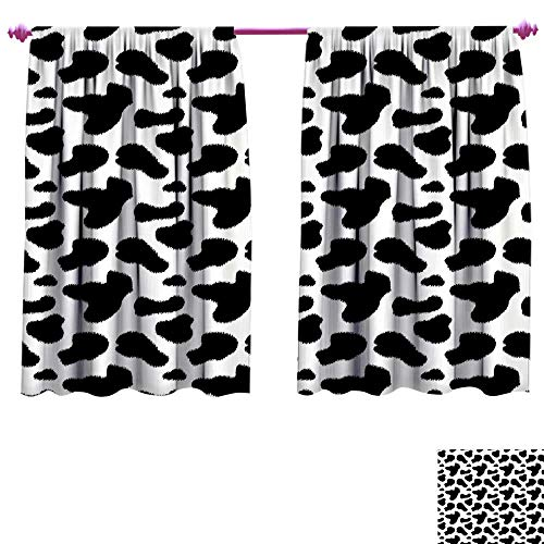 WinfreyDecor Cow Print Thermal Insulating Blackout Curtain Cow Hide Pattern with Black Spots Farm Life with Cattle Camouflage Animal Skin Blackout Draperies for Bedroom W120 x L72 White Black