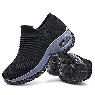 Women's Walking Shoes Sock Sneakers - Mesh Slip On Air Cushion Lady Girls Modern Jazz Dance Easy Shoes Platform Loafers Black,8