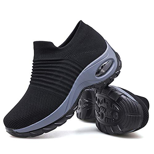 Women's Walking Shoes Sock Sneakers - Mesh Slip On Air Cushion Lady Girls Modern Jazz Dance Easy Shoes Platform Loafers Black,8