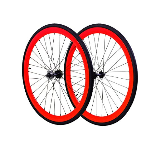 Fixie Wheels Set Fixed Gear Flip-Flop Rear Wheels 45 mm with Kendal Tires 25c, Red