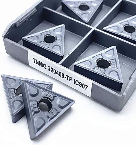 WITHOUT BRAND 10pcs TNMG220408 TF IC907 / IC908 Außendrehwerkzeuge TNMG 220404 Karbid-Einsätze Drehschneider Schneidwerkzeug CNC-Werkzeuge (Größe : TNMG220404 TF IC907)