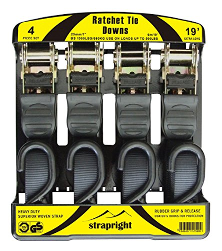 0.5' Luggage Lock - Strapright Heavyweight Ratchet Tie Down Straps 20Ft - Adjustable Lock up Mechanism, Heavy Duty S-Hook | tiedowns for Trucks, Jeeps, Motorcycles, Rooftop Cargo | Bonus Storage Bag - 4 Piece Kit