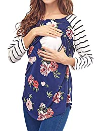 e1c5b2ce8ef Women s Maternity Long Sleeve Breastfeeding Tops Floral Print Striped  Stitching Nursing Shirts
