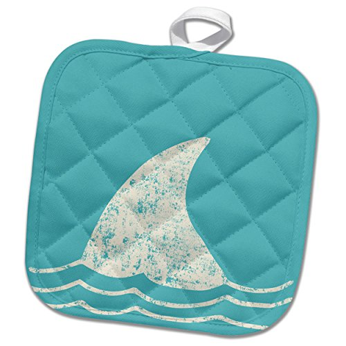 3dRose White Shark Fin and Waves-Ocean and Animals Illustration Potholder, 8 x 8'' by 3dRose