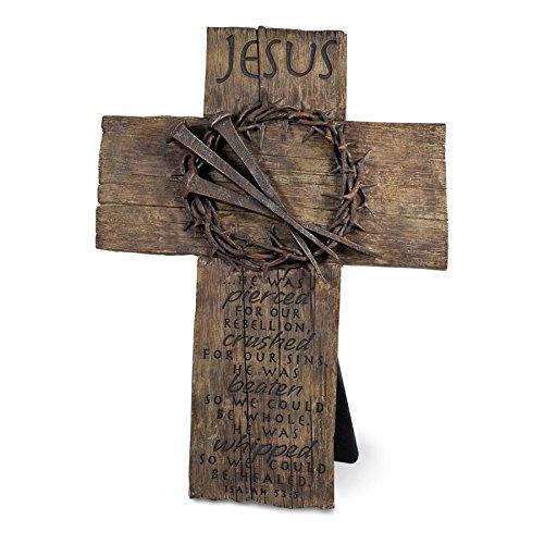 Lighthouse Christian Products Crown of Thorns Wall/Desktop Sculpture Cross, 7 x 9 3/4
