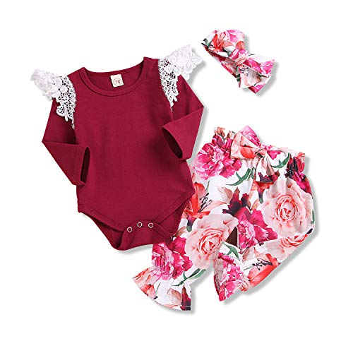 Baby Girl Long Sleeve Romper Tassel Onesie Floral Pants with Headband 3Pcs Clothes Outfit (Red, 70/0-6 Months) -