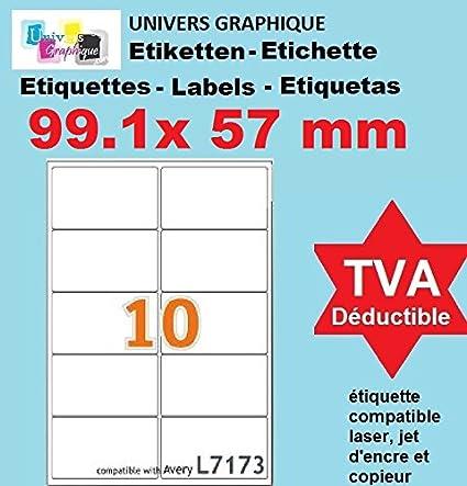 100 A4 hoja de etiquetas papel de etiquetas 10 99,1 x 57 mm ...
