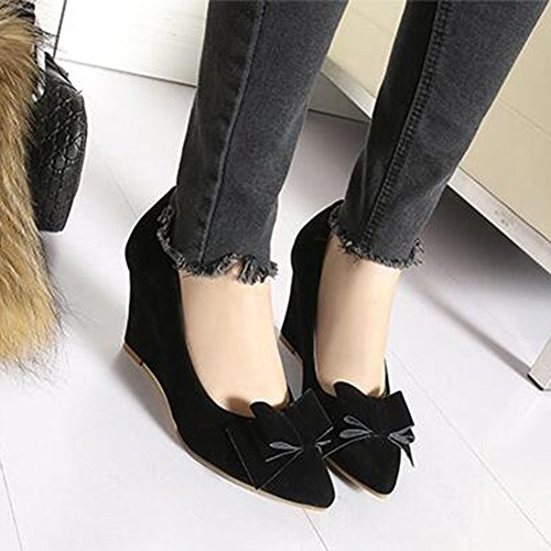 Easemax Womens Elegant Faux Suede Bows Pointed Toe Low Top High Wedge Heel Slip On Pumps Shoes Black LJTcyB6Iur