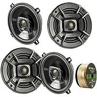 4X Polk Audio DB522 5.25-Inch 300-Watt 2-Way Speakers, Enrock Audio 14 AWG Gauge 50 Feet Speaker Wire Cable
