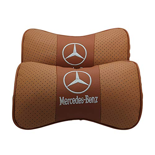 2 PCS Genuine Leather Bone-Shaped Car Seat Pillow Neck Rest Headrest Comfortable Cushion Pad with Mercedes-Benz Logo Pattern Pillow (Light Brown)