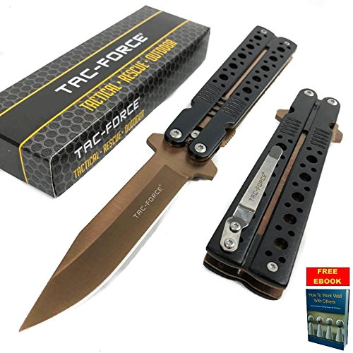 Tac Force Spring Assisted Bronze Blade Folding Aluminum Handle Pocket Knife + free eBook by OnlyUS - Butterfly Clip Knife Blade